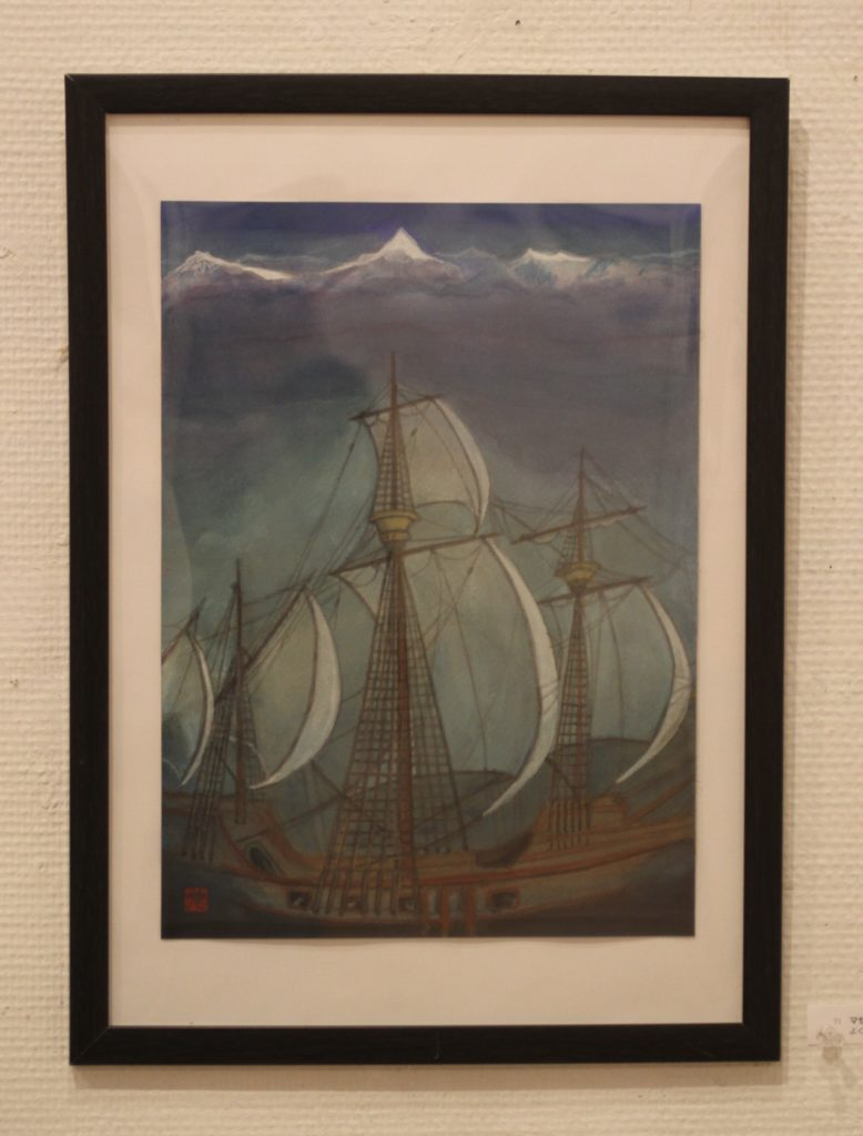 Magellan is a person to be reckoned with world circumnavigation.Where? I drew the ship in the Indian Ocean imagining the Himalaya Mountains in her background; but at that time he didn't exist.What a small ship she is!