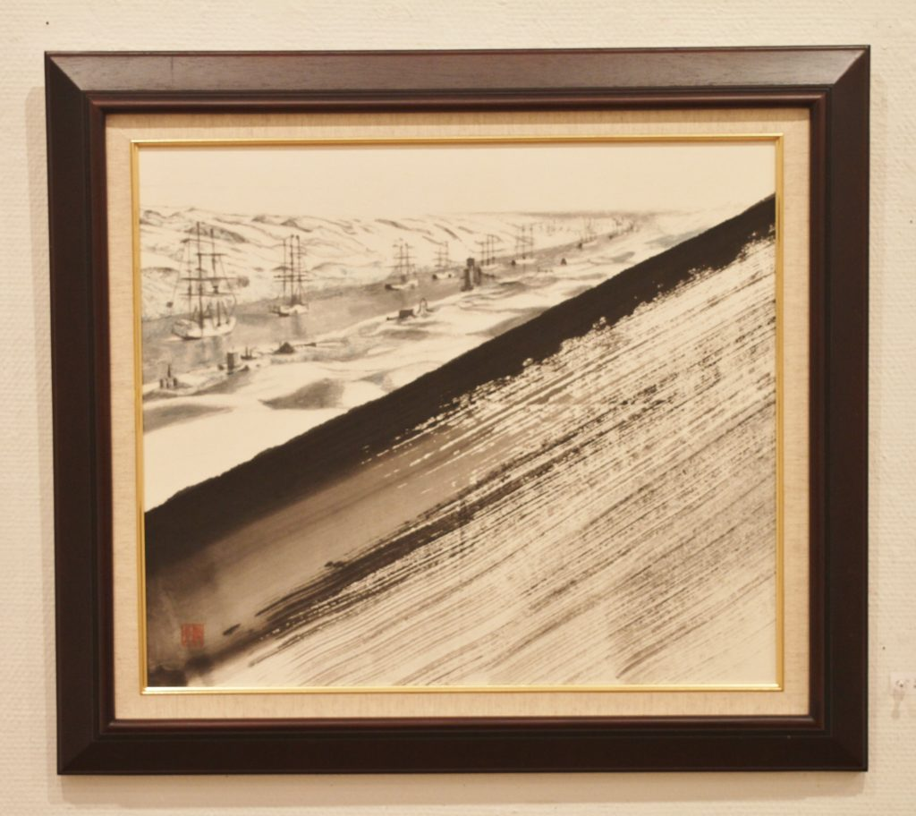 The Suez Canal is the scene that is presented here. Dune in front of the canal is made by one stroke of a brush in Suiboku.