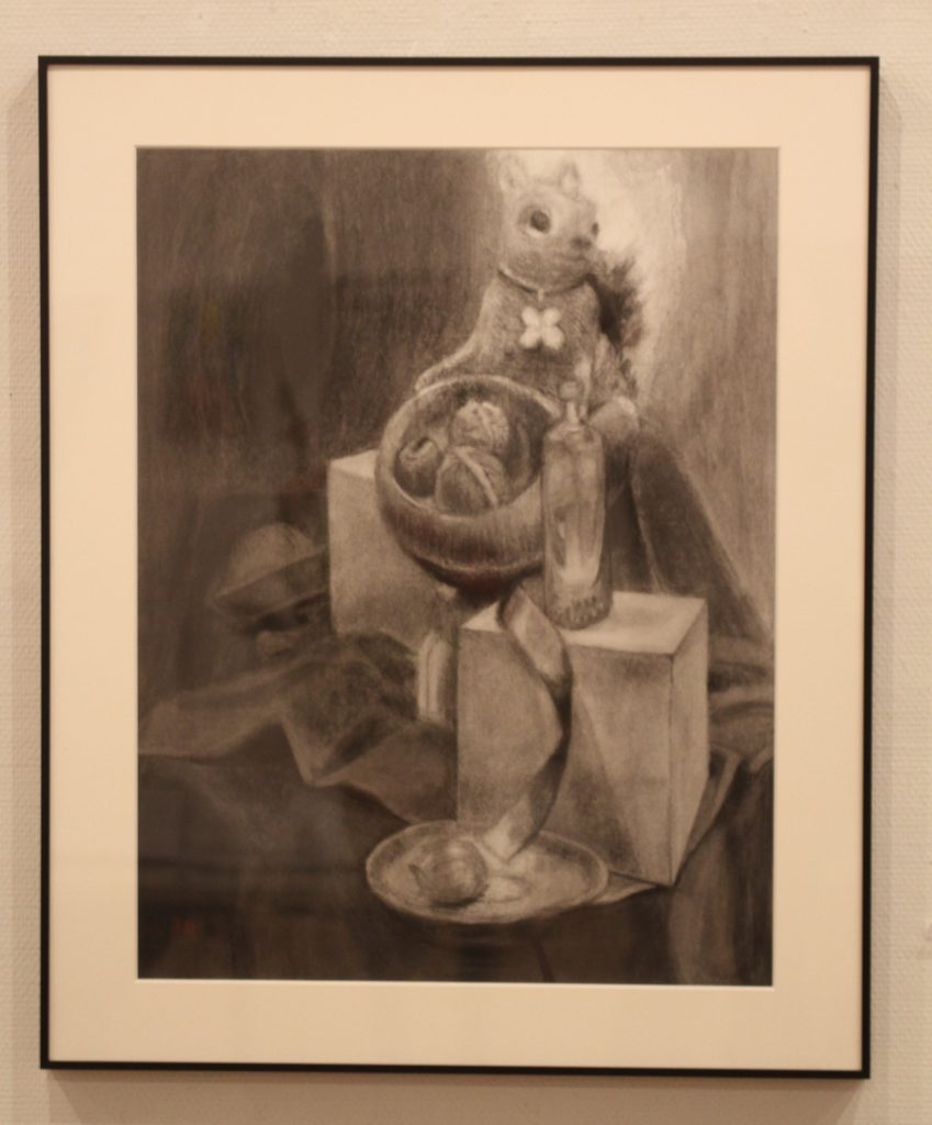 The still life of squirrel by drawing with Charcoal.I think that it is proper to be considered as the nature of Canada.