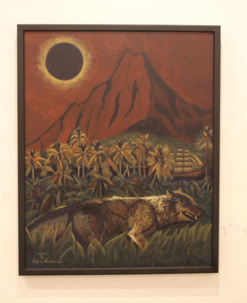A total eclipse of the sun occurred in Tahiti. Gogh is the sun and Gauguin is the moon the eclipse is lapped by them. The wolf in front of Tahiti symbolizes the fighting spirits of them.